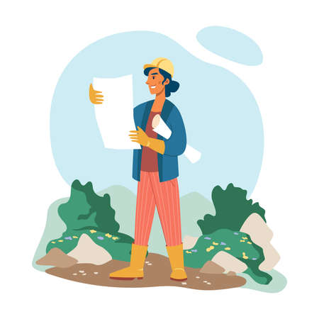 Gardening landscape designer woman in helmet, plan in hands isolated flat cartoon character. Vector creative professional floral architecture planning lawn flowerbed exterior, landscaping project Illusztráció