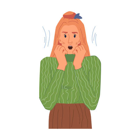 Shocked female character, amazed woman emotion isolated flat cartoon girl in stress. Vector surprised astonished and confused lady. Frightened blonde expressing emotion of fear or excitement Illusztráció