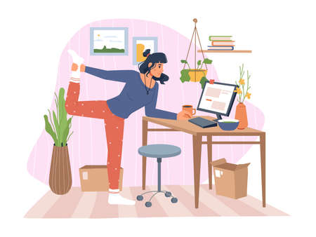 Working woman stretching and typing in laptop, lady doing exercise while completing tasks on computer. Home office of personage, flowers and decoration. Cartoon characters, vector in flat style Illusztráció