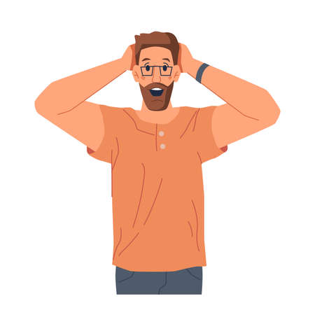 Excited or surprised male personage with smile and joy on face. Reaction of man showing amazed facial expression. Emotional bearded guy wearing glasses. Cartoon character, vector in flat style Illusztráció