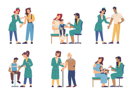 virus  vaccine injection, people of different ages vaccination isolated flat cartoon characters. Vector virus prevention, nurses in uniform making influenza. Immunization of adult and children Illusztráció