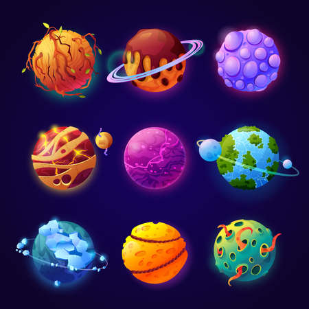 Cosmos with fictional fantasy planets with orbits and satellites. Set of celestial bodies, asteroids or meteors for game design or universe creation. Aliens and outer space. Cartoon vector in flat
