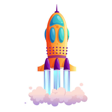 Takeoff of rocketship, traces and clouds, shuttle flight isolated cartoon icon. Vector new project or business startup concept, exploration of cosmos and space, innovation technology, vehicle liftoff