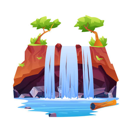 Rocky hill fountain scene with trees on top isolated tropical or jungle scenery. Vector waterfall, nature fluid splashes and drops. Natural landscape falling river water or mountain fall, aqua cascade