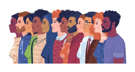 Diverse people, multiracial, multicultural crowd of men and women, side view portraits. Vector multi-ethnic group, concept of equality and togetherness. Wellness, independence and freedom, stop racism
