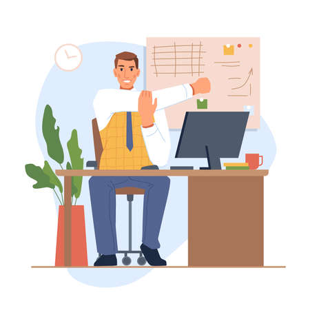 Employee or boss sitting by table with monitor and stretching. Personage reducing muscle soreness and tired feeling, exercises at workplace. Tiring project. Cartoon character, vector in flat style