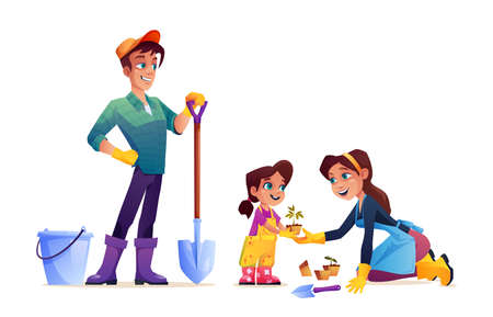Happy family plant flowers isolated cartoon mother, father and daughter with gardening tools. Vector parents and child spend time together, mom and girl in apron and rubber gloves.