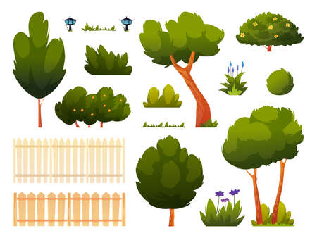Set of green trees, bushes, grass and flowers, fence or hedge isolated backyard or park set of cartoon elements. Vector spring or summer outside objects, forest or garden plants, gardening icons.