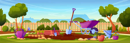 Backyard garden with cultivated soil, shovel and pitchfork, watering can and wheelbarrow, fence and country house on background. Vector gardening equipment, lawn with growing plants.