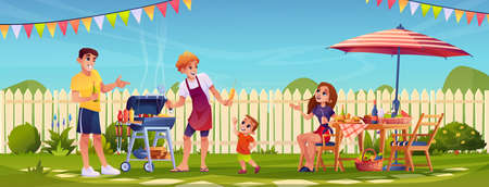 Bbq people party on garden backyard, happy family cooking food outdoors in garden with fence. Vector mother father and children grilling meat, picnic outdoors. Barbeque table, umbrella and flags 일러스트