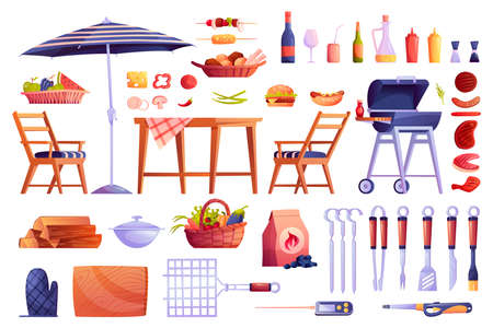 Grill and barbecue icons set, food and grilling equipment isolated. Vector bbq meat, skewers forks, table and chair, basket with fruits and vegetables, cartoon picnic element.