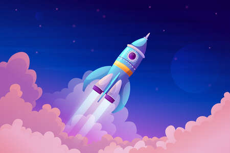 Space ship launch, rocket with fire trace and smoke in blue sky atmosphere. Vector takeoff of rocketship, flaming spacecraft and pink clouds. Booster in flight, symbol of business or new project start