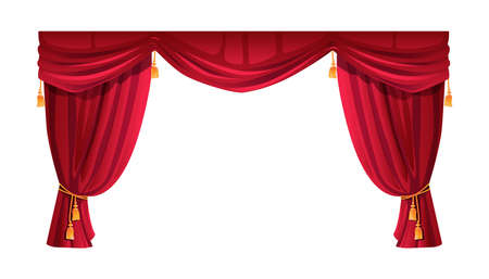 Velvet red curtain isolated stage decor. Vector theatre, cinema scene decoration, luxury cornice decor, domestic interior drapery textile labrecque. Scarlet silk cloth with golden lambrequin
