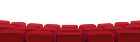 Rows of theater movie or cinema seats isolated on white. Vector blank screen, red velvet chairs in conference hall, opera or auditorium. Premier showtime comfortable seating, entertainment performance Ilustrace
