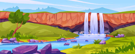 Waterfall landscape, rocky fountain scene with trees, river with stones, tropical or jungle scenery. Vector nature fluid splashes and drops, falling water in mountain fall, aqua cascade, green grass.