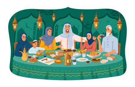 Muslim family at dinner, iftar ramadan holiday celebration, arabic people in national cloth, lanterns and arabian cityscape on background. Parents and kids sitting at table, national food and drinks. Ilustrace