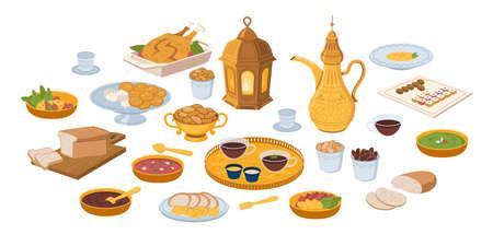 Iftar, ramadan banner with food and drinks eating isolated set, flat cartoon. Vector ftoor muslims evening meal at sunset. Eid mubarak, Ramazan Kareem meal, bread, fruits and vegetables.