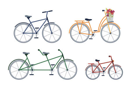 Set of adult and kids bicycles, two-seater bike, with blooming flowers isolated icons set. Vector cycling transport, leisure sport activity mountainbike with pedals, extreme adventure cycle 일러스트