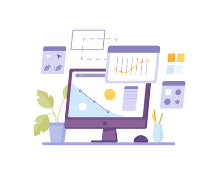 Design program computer isolated screen networking graphics and chat. Vector java script coding, corporate analyzing application, networking interface. Desktop with potted plant, stationery tools 일러스트