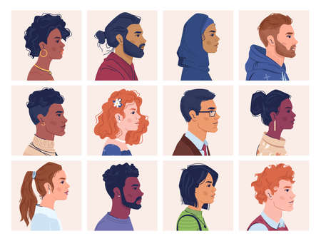 Diverse people, man and woman portraits, multiracial, multicultural crowd, side view portraits. Vector multi-ethnic group, afro american and caucasian, africans and europeans, multinational ethnicity Ilustrace