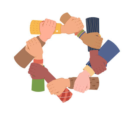 Hands holding each other making circle, togetherness and unity, ethnic diversity. Vector diverse group of people putting arms together. Support and partnership, social movement friendship cooperation