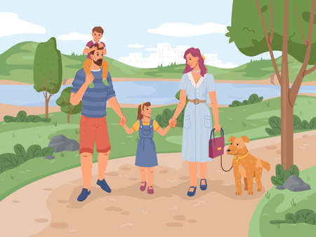 Family mother, father, son and daughter walking in park with dog. Vector flat cartoon people and pet animal resting on nature, green trees, grass, river or lake on background. Leisure pastime together