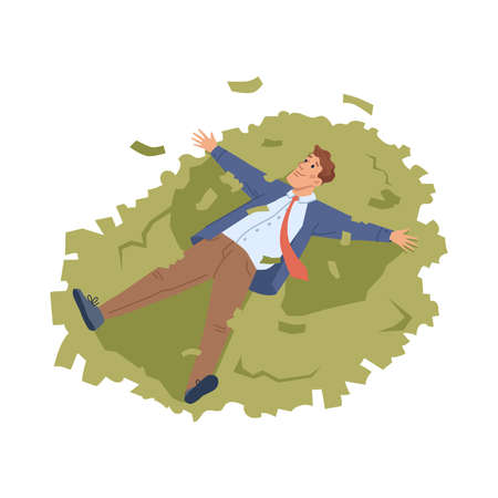 Businessman lie on heap of money isolated flat cartoon character. Vector rich person swimming in dollar banknotes, investment and profit savings, happy rich millionaire. Rich guy, economy of budget
