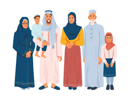 Muslim family, several generations isolated arabian people in national cloth. Vector parents and grandparents, children daughter and son. Bearded man and woman in hijab, ramadan kareem celebration