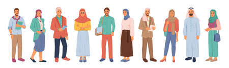 Modern muslim people, businessman and businesswoman isolated flat cartoon people set. Vector arabians in national and casual cloth, entrepreneurs from middle east, uae citizen in hijab or headscarf