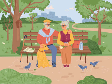 Elderly people sitting on bench in park, feeding pigeon birds, green trees and grass on background. Vector retired old pensioners having fun together, caucasian grandfather and grandmother on seat