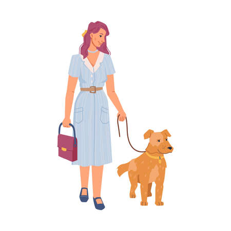 Pretty woman walking with dog isolated pet owner with canine animal on lash, flat cartoon characters. Vector businesswoman in dress with bag, walking with happy pedigree puppy best friend companion