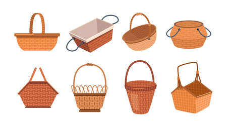Picnic basket set isolated empty wicker containers in flat cartoon style. Vector traditional lunch or dinner baskets, handmade objects to carry food and drinks. Easter shopper grocery shopping bag 일러스트