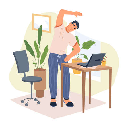 Man freelancer in casual cloth making stretching exercises standing near table with laptop, flat cartoon character. Guy working at home doing physical activities at work place, chair and flower pots