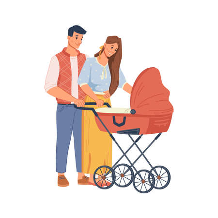 Young parents walking with stroller, flat cartoon people. Vector happy family having fun together, newborn toddler in carriage, mother and father, son or daughter isolated on white, lovely couple