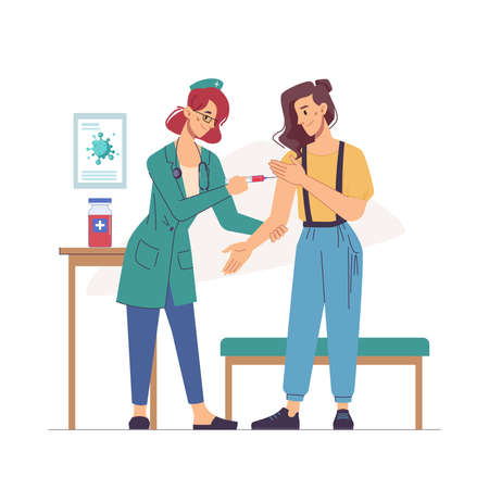 Pandemic infection stop, treatment from flu or influenza, nurse making injection to woman, flat cartoon. Vector healthcare and medicine, immunization and vaccination concept. Doctor injecting lady