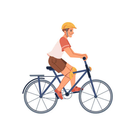 Teenager boy riding on sport bicycle isolated son