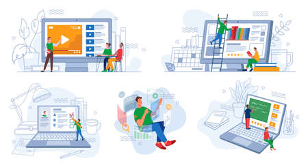 Online distant education and work, e-learning set Ilustrace