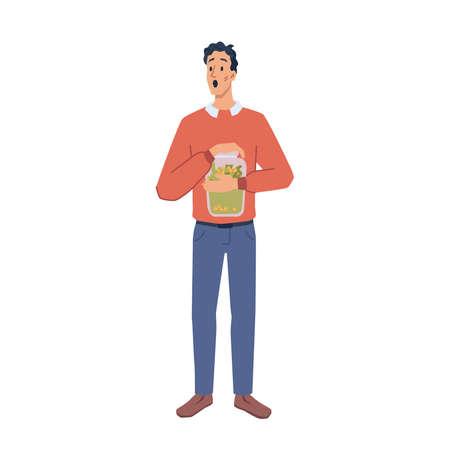 Man hold savings in glass jar, cartoon character