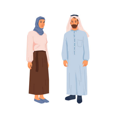 Muslims couple in traditional dress, hijab. Family 일러스트