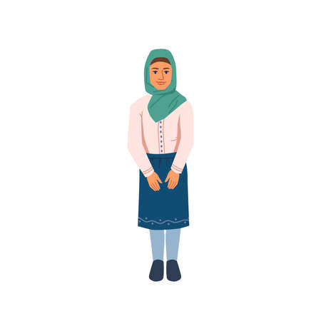Arab teenage girl, young muslim woman isolated
