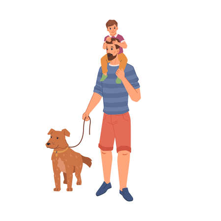 Man pet owner walking with dog, father and son