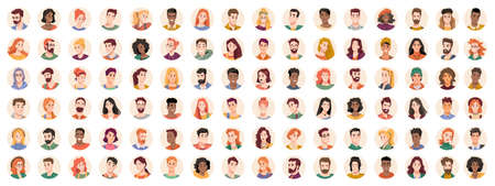 People portraits and emotional faces icons set