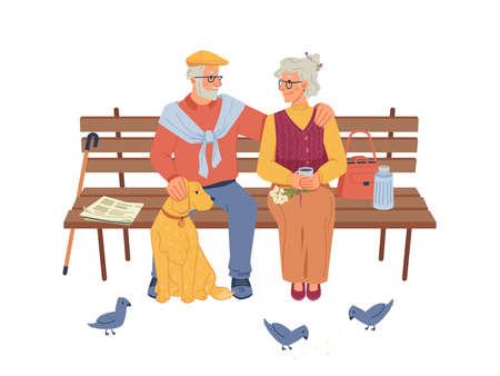 Elderly people sitting on bench, pigeons and dog Ilustrace