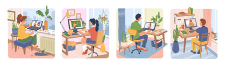 Online distance education on quarantine students computer 일러스트