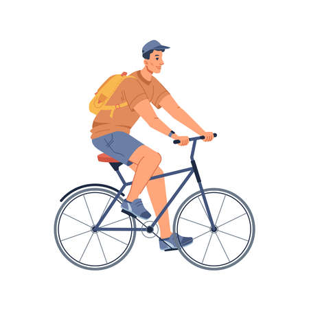 Man riding on sport bicycle isolated cycling guy