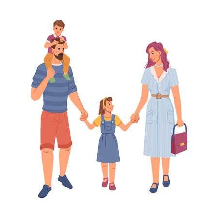 Happy family, mom and dad, children flat cartoon 일러스트