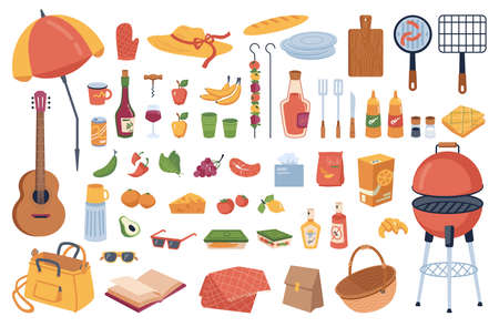 Set of picnic elements, food and drinks, bbq tools Ilustrace