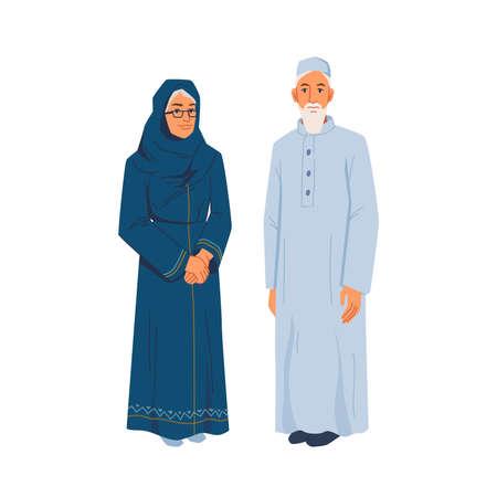 Muslim grandmother grandfather in national cloth, elderly muslims