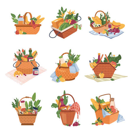 Picnic baskets with food and drinks isolated icons 일러스트