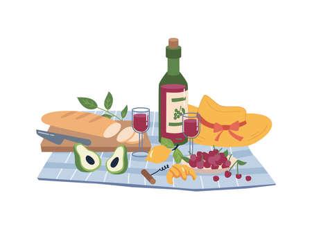 Napkin open bottle of wine, bread, grapes, picnic 일러스트